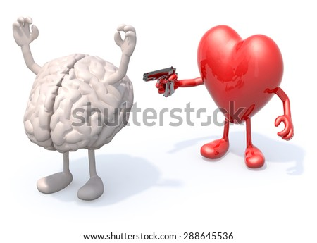 brain and heart with arms and legs, heart has a gun and points it at the heart who has his hands up - stock photo