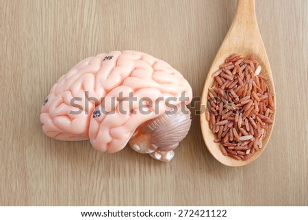 brain and red rice on wooden background with healthy concept