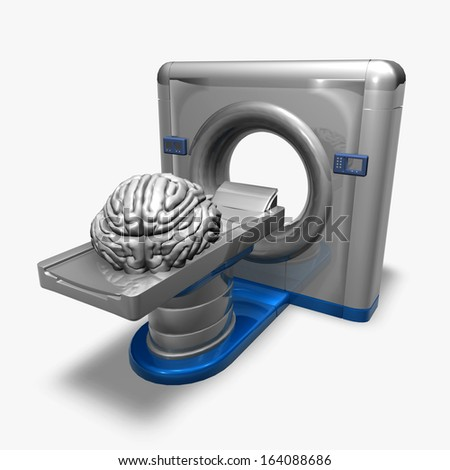 brain and stethoscope machine isolated illustration, x-rays, radiology, mental health, medical abstract concept - stock photo