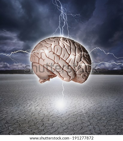 Brain being shocked with lightning over a dry lake bed.