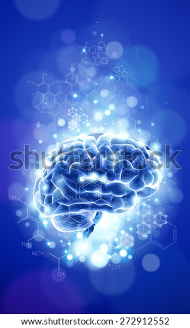 brain - blue technology concept - stock photo