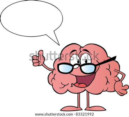 Brain Cartoon Character Giving The Thumbs Up And Speak.Vector version is also available - stock photo