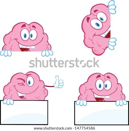 Brain Cartoon Mascot Collection 9. Vector version also available in gallery - stock photo