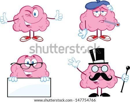 Brain Cartoon Mascot Collection 7. Vector version also available in gallery - stock photo