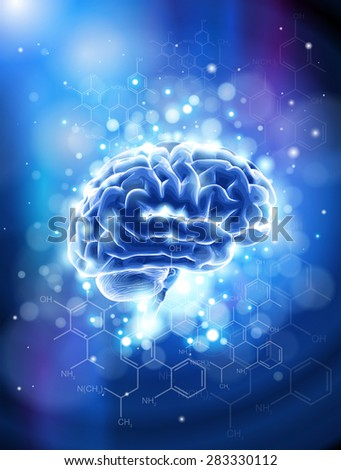 Brain & chemical formulas - blue technology concept - stock photo
