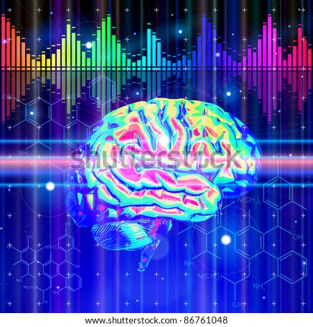 Brain, chemical formulas, color digital wave & radial design lights - technology background. Bitmap copy my vector id 72058453 - stock photo