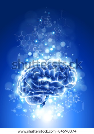 Brain, chemical formulas &  lights - blue technology concept. Bitmap copy my vector ID 76322413