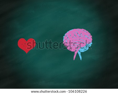 Brain connection to heart by hand drawing on green chalkboard,relations concept - stock photo