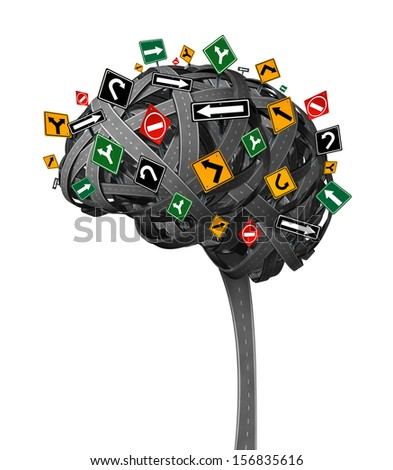 Brain direction neurology concept for dementia with tangled roads in the shape of the human thinking organ with confusing street traffic signs as a health symbol and metaphor for memory loss. - stock photo