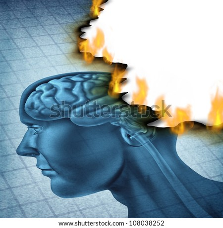 Brain disease and burn out icon as a medical neurology and health care symbol with a picture of a human head being burnt with fire flames as a concept of  alzheimer and dementia illness. - stock photo