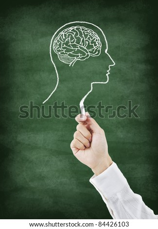 Brain drawing on chalkboard with chalk - stock photo