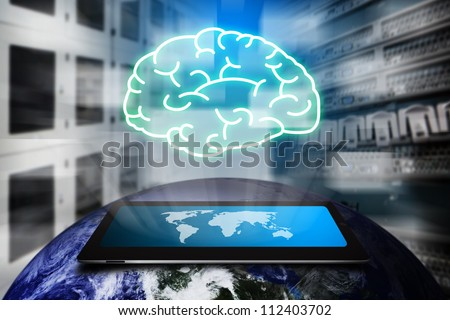 Brain from digital touch pad : Elements of this image furnished by NASA