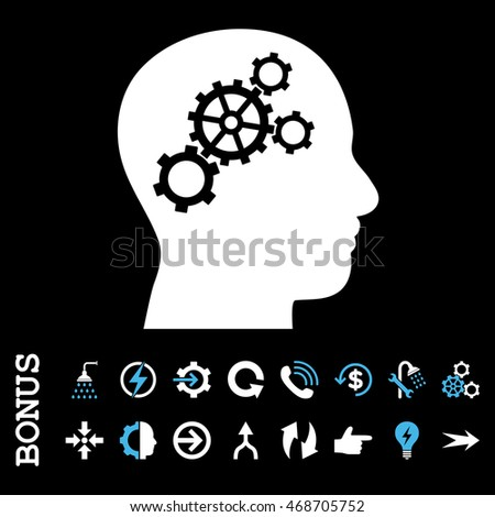 Brain Gears glyph bicolor icon. Image style is a flat iconic symbol, blue and white colors, black background.