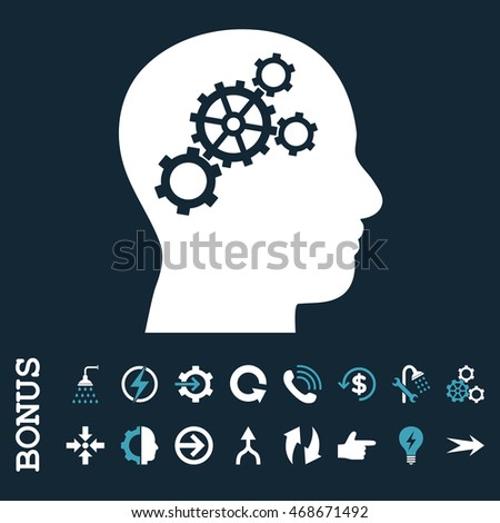 Brain Gears glyph bicolor icon. Image style is a flat iconic symbol, blue and white colors, dark blue background.
