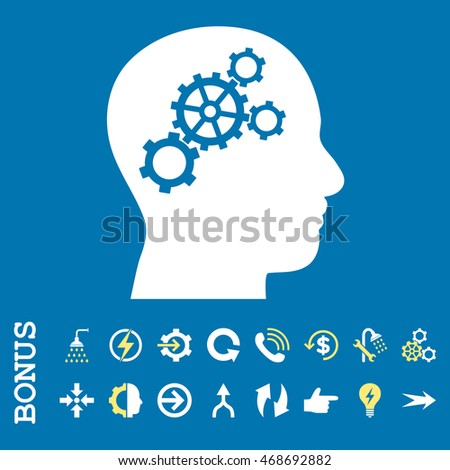 Brain Gears glyph bicolor icon. Image style is a flat iconic symbol, yellow and white colors, blue background.