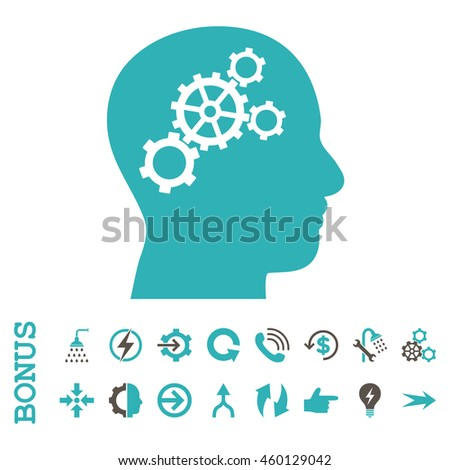 Brain Gears glyph bicolor icon. Image style is a flat pictogram symbol, grey and cyan colors, white background.