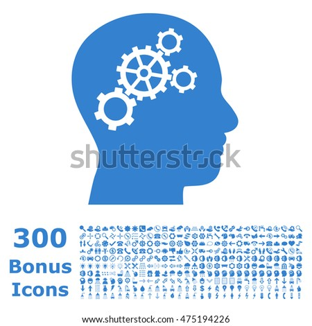 Brain Gears icon with 300 bonus icons. Glyph illustration style is flat iconic symbols, cobalt color, white background.