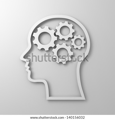 Brain gears in human head shape on white background - stock photo