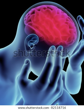 Brain head ache, migraine, Alzheimer's or dementia  concept,Part of a medical series - stock photo