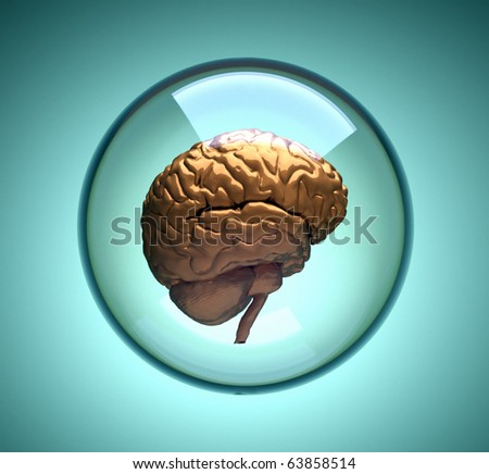 Brain in glass sphere - this is a 3d render illustration - stock photo