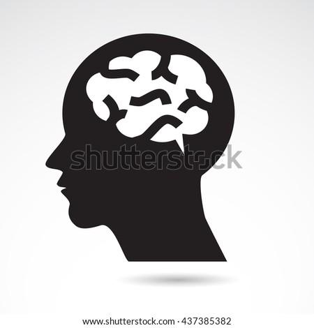 Brain in human head icon. - stock photo