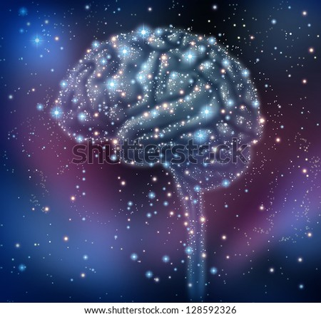 Brain intelligence discovery with a human brain shape made of stars and planets in a space background as a neurological health concept for research and solutions. - stock photo