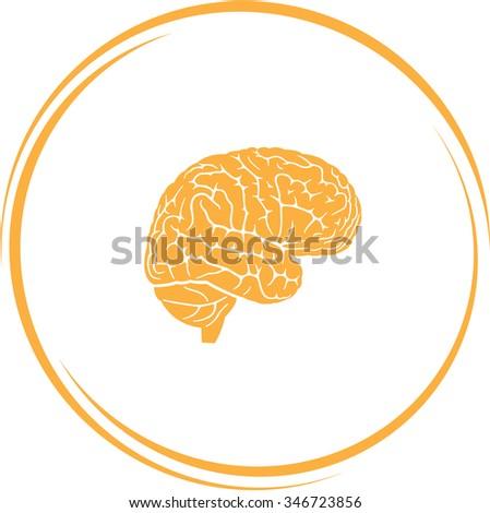 brain. Internet button. Raster icon. - stock photo