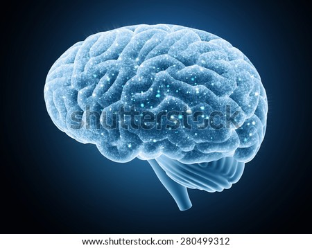 Brain isolated on a dark background. Nerve impulses.