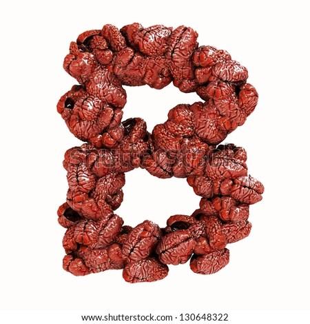 Brain Letter B - stock photo
