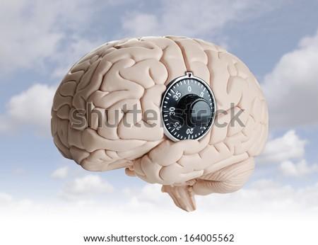Brain lock  - stock photo