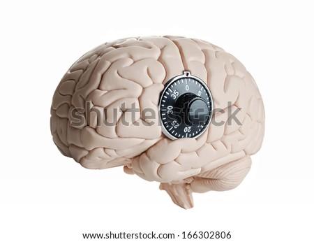 Brain lock, Human brain model with a dial lock  - stock photo