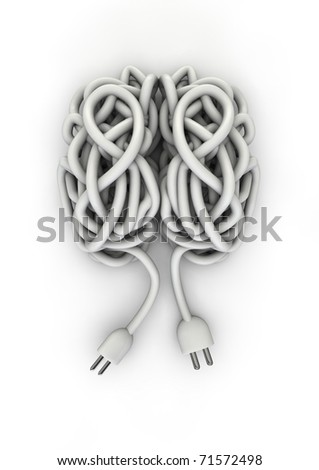Brain made of electrical cord - stock photo