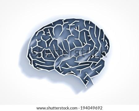 brain maze - stock photo