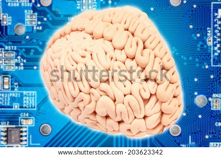 brain microprocessor with circuit board electronic components idea concept for creativity  - stock photo