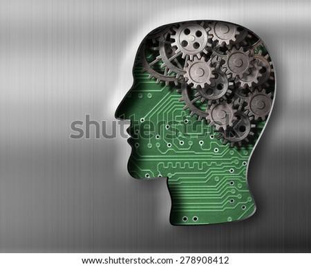 Brain model in metal plate - stock photo