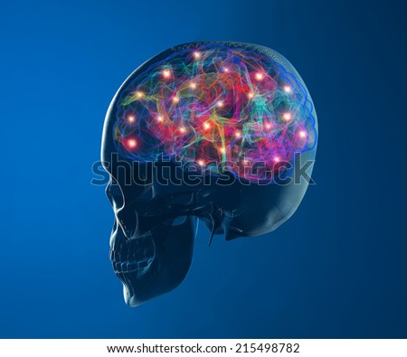 Brain neurons synapse - stock photo