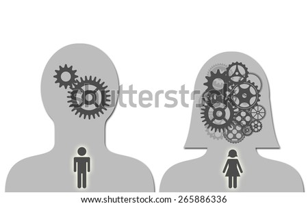 Brain of man and woman - stock photo