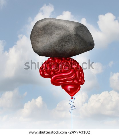 Brain power concept as a red balloon shaped as a human thinking organ lifting up a heavy rock as a symbol and mental health metaphor for powerful creative intelligence and memory. - stock photo