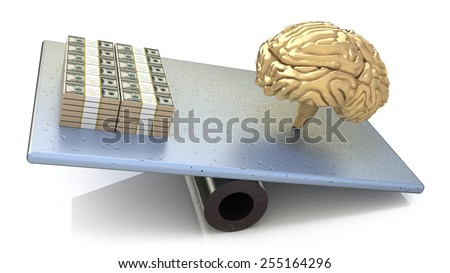 Brain price. intelligence outweighs the money  - stock photo