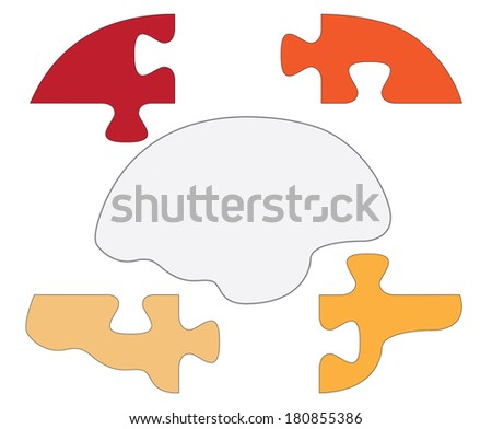 Brain shaped puzzle pieces, creative colorful illustration. - stock photo