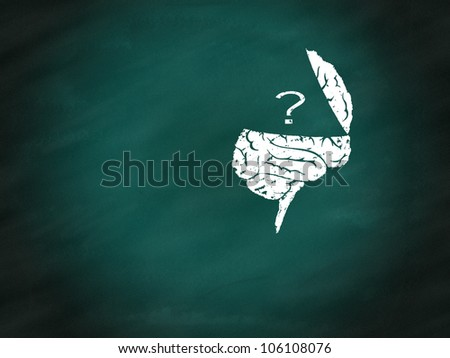 Brain thinking conceptual on green chalkboard - stock photo