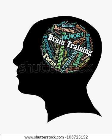 Brain Training in Word Collage - stock photo