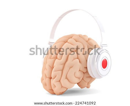 Brain with headphones. Isolated. Cotains clipping path - stock photo