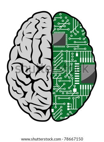 Brain with motherboard as a computer concept. Vector version also available in gallery - stock photo