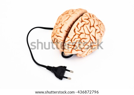 Brain with power plug, isolated on white background