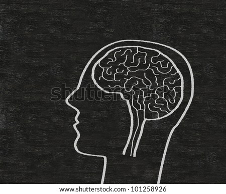 brain written on blackboard background Easy to edit and use, high resolution. - stock photo