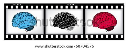 brains on film background - stock photo