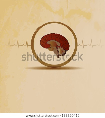 Brains, vintage design. Normal human cardiogram at the background.  - stock photo