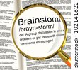 Brainstorm Definition Magnifier Shows Research Thoughts And Discussion - stock photo