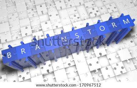 Brainstorm - puzzle 3d render illustration with text on blue jigsaw pieces stick out of white pieces